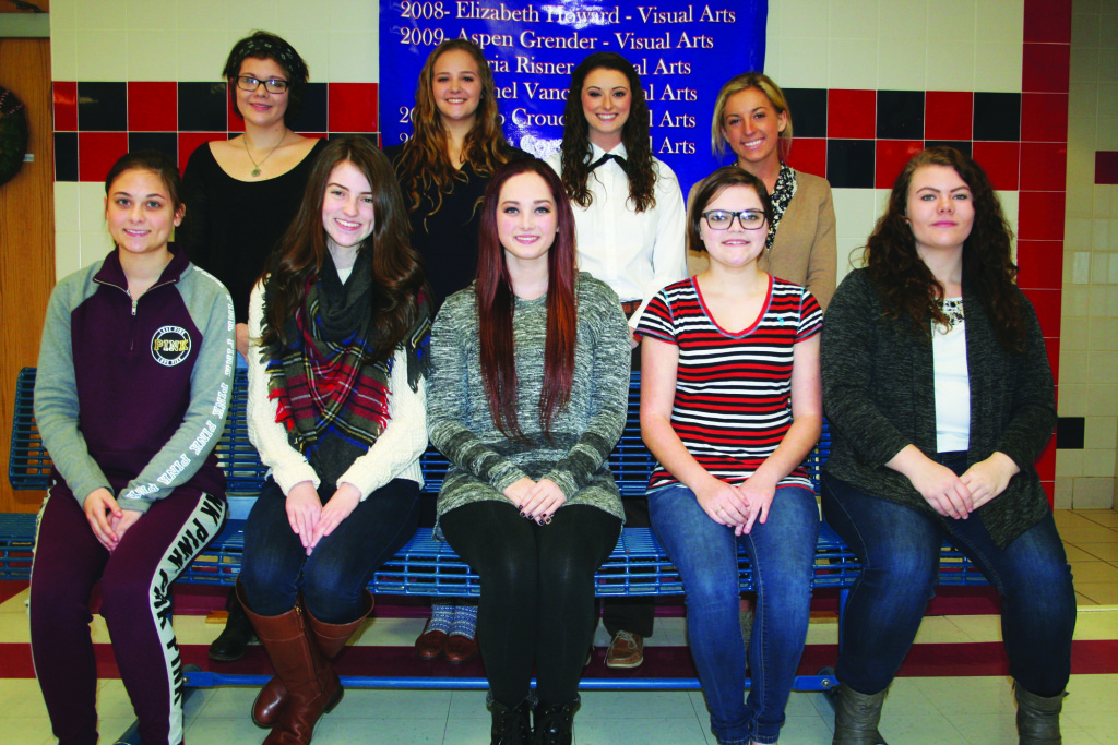 The Knott County Central High School Miss Centralian contestants for 2016. Seated (L to R): Acacia Hall, Eden Slone, Hannah Slone, Elizabeth Tibbs, and Brittney Slone. Standing (L to R): Charity Slone, Fallon Slone, Alexis Hatmaker, and Ashley Bergman. Not pictured Meranda Izabella Caudill. (Photo by Jordan Thomas Hall)